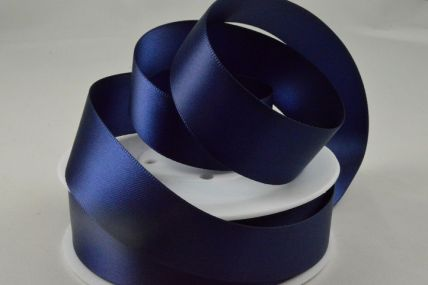3mm, 7mm, 10mm, 15mm, 25mm, 38mm & 50mm Navy Blue Double Sided Satin