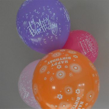"12"" Happy Birthday Multi Coloured Latex Balloons (Pack of 6)"