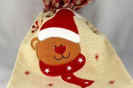 Natural Fabric Christmas Bear Gift Sack x 1 Piece!