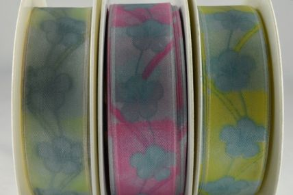 43929 - 25mm & 40mm Wired Flower Printed Ribbon x 20 Metre Rolls!