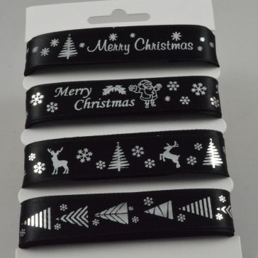55086 - Black Merry Christmas Selection Pack : 4 x 2 Metre Lengths