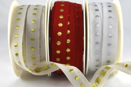 54598 - 16mm Vintage Woven Spots Ribbon x 20 Metres!!