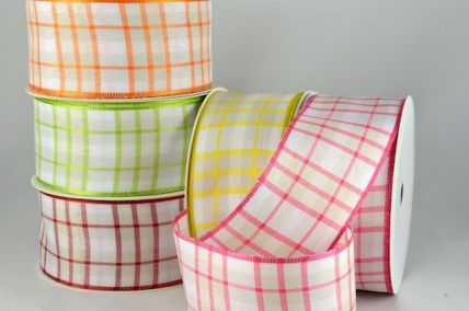 40mm Wired Woven Gingham with Coloured Edge Ribbon x 20 Metres!!