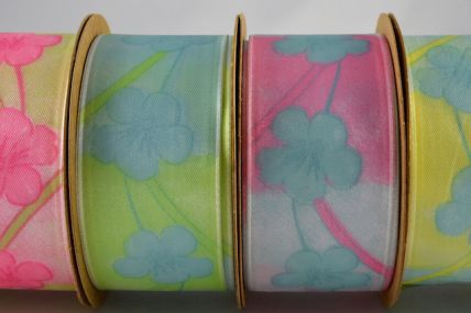 40mm Wired Printed Flower Ribbon x 3 Metre Rolls!