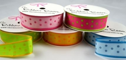 25mm Wired Spotted Ribbon x 4 Metre Rolls!!