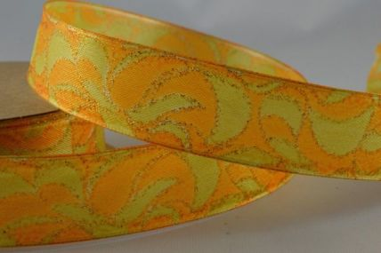 25mm Orange Wired Glitter Swirl Ribbon x 3 Metre Rolls!