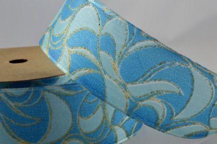 25mm & 40mm Blue Wired Glitter Swirl Ribbon x 3 Metre Rolls!!