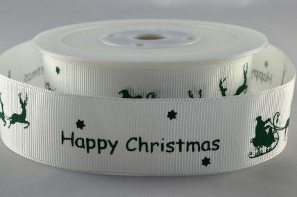 25mm Green Happy Christmas Ribbon with Santa Sleigh x 20 Metre Rolls!