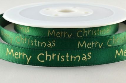 10mm Green Merry Christmas Printed Ribbon x 20 Metre Rolls!