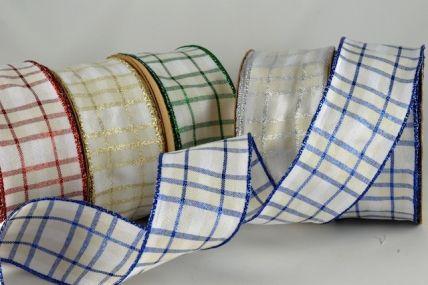 40mm Wired Lurex Tartan Ribbon x 20 Metre Ribbon Rolls!!