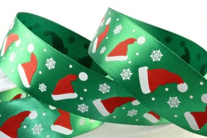 25mm Green Satin Printed Santa Hats x 20 Metre Rolls!!
