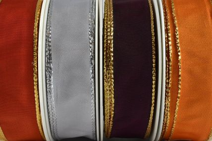 44076 - 25mm, 40mm & 60mm Wired Polyester Ribbon with Lurex Edge x 25 Metre Rolls!!