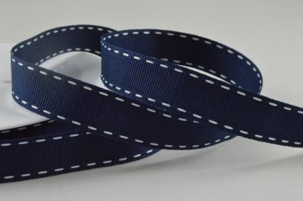 15mm Navy Blue Grosgrain Ribbon with Stitched Edges x 20 Metre Rolls!