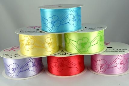 44197 - 40mm Flowered Patterned Wired Ribbon x 3 Metre Rolls!!