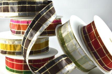 15mm, 25mm & 40mm Regal Plaid Wired Ribbon x 3 Metre Rolls!!