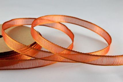 10mm Orange Wired Strong Webbed Sheer Ribbon x 3 Metre Rolls!