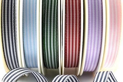 54231 - 5mm & 10mm Woven Stripe Ribbon x 25 Metre Rolls!