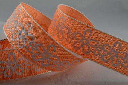 25mm Orange Flower Printed Ribbon x 20 Metre Rolls!!