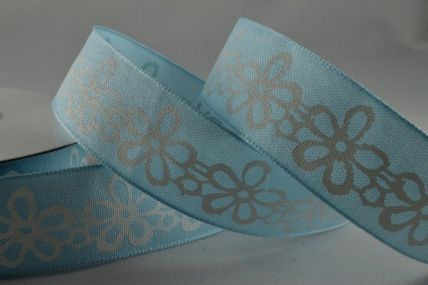 25mm Baby Blue Flower Printed Ribbon x 20 Metre Rolls!!