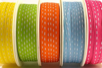 54062 - 4mm or 10mm Stitched Colour Woven Ribbon (20/50 Metres)