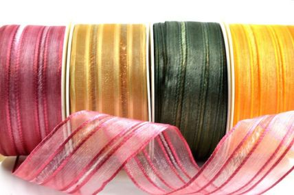40mm Wired Dual Striped Sheer Ribbon x 20 Metre Rolls.