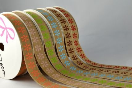 15mm Brown Coloured Flower Ribbon x 4 Metre Rolls!!
