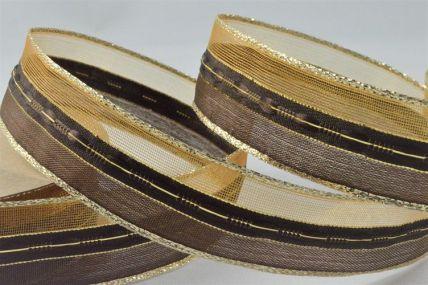 25mm Gold Wired Sheer & Lurex Ribbon x 3 Metre Rolls!