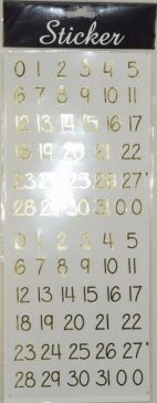 Gold Number Stickers
