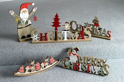 88178 , 88179 , 88180 , 88181 , 88182 - Wooden freestanding Christmas and Winter decoration ornaments