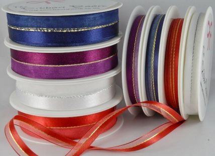 10 & 22mm Central Lurex with sheer & satin x 20 Metre Rolls!!