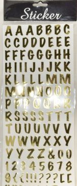 Gold Alphabet Stickers & Numbers