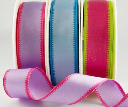 43910 - 25mm & 40mm - Wired Coloured Fancy Edge Ribbons x 20 Metre Rolls!!