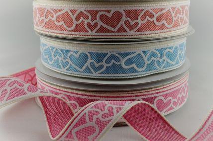 15mm Coloured Love Heart Ribbon x 20 Metre Rolls!!