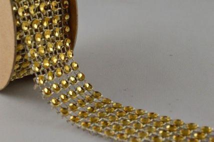 25mm Gold Diamante Beaded Mesh x 1 Metre Strip!