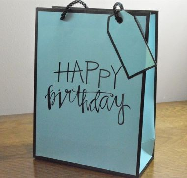 Small & Medium Blue Happy Birthday Gift Bags & Tag!!
