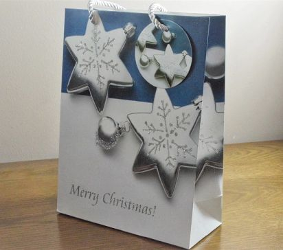 Sparkling Merry Christmas Glitter Baubles Gift Bags & Tag!!