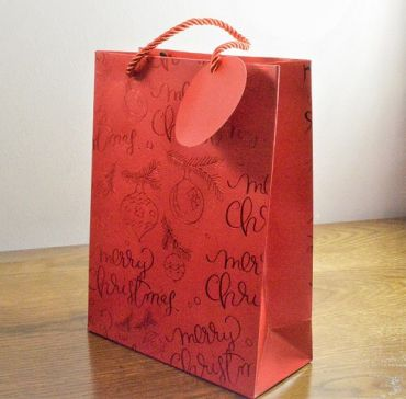 Small & Medium Red Merry Christmas Holly & Bauble Gift Bags & Tag!!