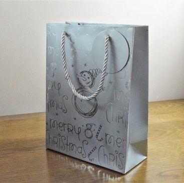 Merry Christmas Silver Snowman Gift Bags & Tag!!