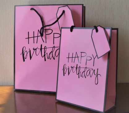 Small & Medium Pink Happy Birthday Gift Bags & Tag!!