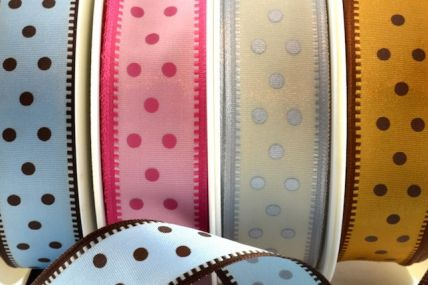 44281 - 25mm Wired Spotted Ribbon x 20 Metre Rolls!!
