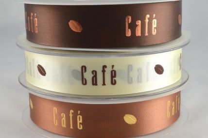 15mm & 24mm Cafe with Cocoa Bean Ribbon x 50 Metre Rolls!!