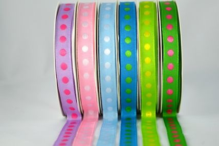 10mm Colour Woven Spotted Ribbon x 5 Metre Rolls!!