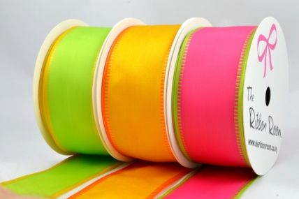 40mm Coloured Fancy Edge Wired Ribbon x 3 Metre Rolls!!