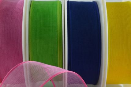 25mm & 40mm Wired Coloured Sheer Ribbon x 20 Metre Rolls!!