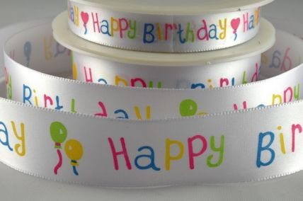 15mm & 25mm Happy Birthday Ribbon x 20 metre rolls!!!