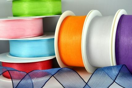 25mm & 40mm Wired Sheer With Coloured Edge Ribbon x 25 Metre Rolls!!