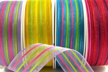 25mm & 40mm Colour Woven Wired Striped Ribbon x 20 Metres!!