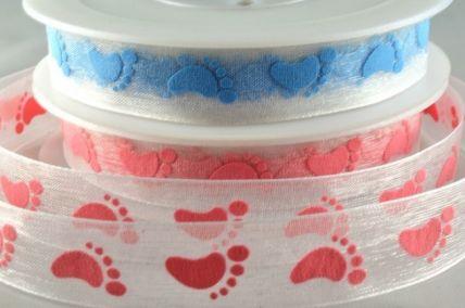 15mm Sheer Printed Baby Feet Ribbon x 20 Metre Rolls!!