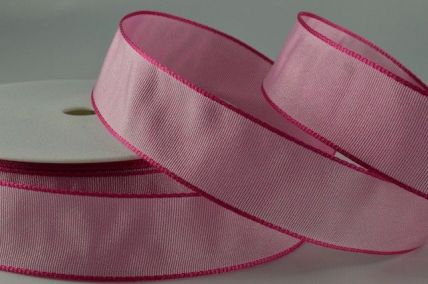 25mm & 60mm Pale Pink Wired Ribbon x 25 Metre Rolls!