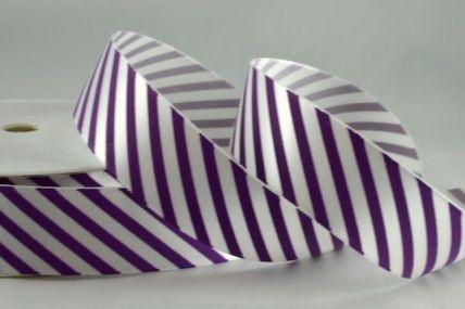 25mm Purple Candy Stripe Ribbon x 100 Metre Rolls!